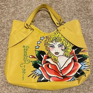 Vintage Yellow Ed Hardy Fashion Tote Bag